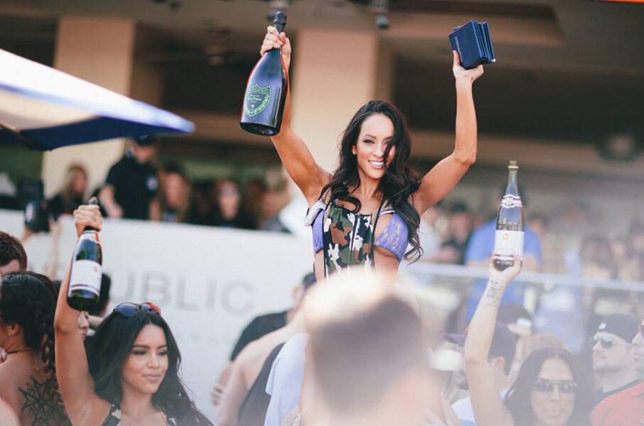 Wet Republic Ultra Pool Las Vegas Woman with Champagne