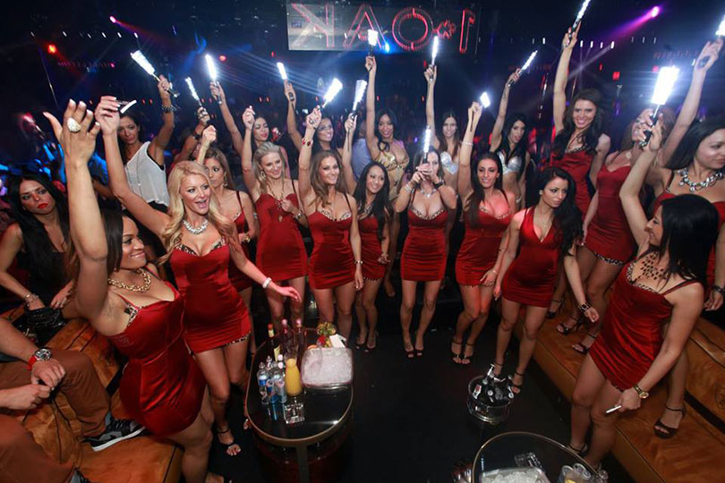 1 Oak Las Vegas Group of Women in Red Dresses
