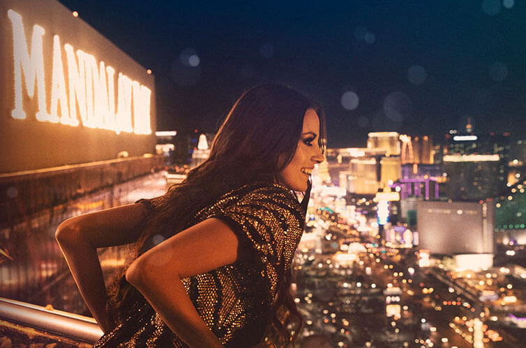 Foundation Room Las Vegas Woman Look Out Over Strip