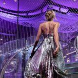The Chandelier Las Vegas Woman in Silver Dress